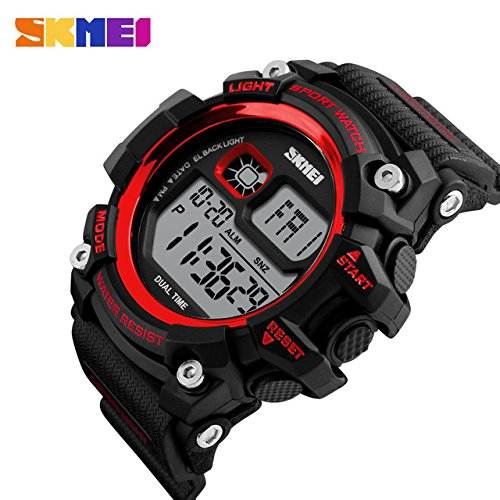 Amazon.com: Mastop Brand Mens Digital Watches Big Dial Multifunction Chronograph Outdoor Waterproof Sport Wrist Watch (Red): Watches