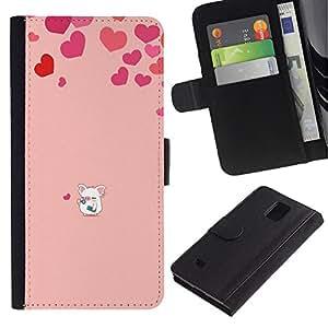iBinBang / Flip Funda de Cuero Case Cover - Corazón del amor del cerdo rosado lindo - Samsung Galaxy Note 4 SM-N910