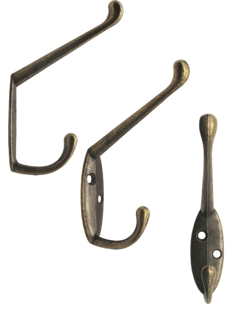Fuxxer Lot de 5 crochets pour v/êtements classiques en fer avec crochets en m/étal Bronze 85 x 55 mm