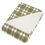 Trend Lab Deer Lodge Faux Shearing Blanket, Sage/Brown/Cream