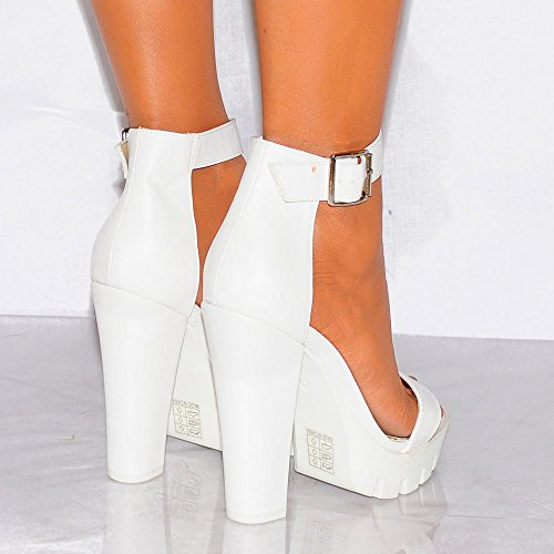 Ladies Womens Bianco Con Incisioni Piattaforme Estate Sandali Tacchi Alti Scarpe UK6/EURO39/AUS7/USA8