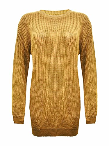 WOMEN DRESS WINTER SLEEVE LONG MIDI KNITTED Mustard pw4qSrp