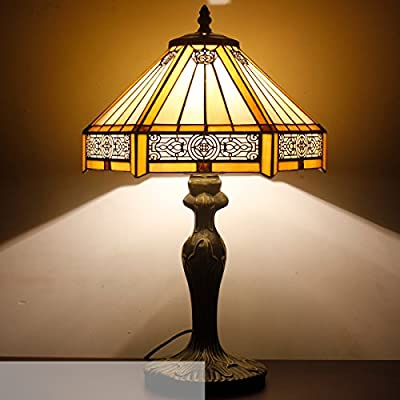 Tiffany Lamp Yellow Hexagon Stained Glass Lampshade Antique Style Base Table Lamps Read Lighting W12 H18 Inch for Living Room Bedroom Bedside Desk Coffee Table Bookcase S011 WERFACTORY