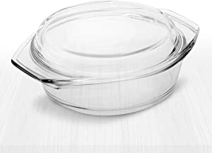 Clear Round Glass Casserole by Simax | Deep Dish, With Lid, Heat, Cold and Shock Proof, Microwave, Oven, Freezer, and Dishwasher Safe, Made in Europe, 2.9 Quart