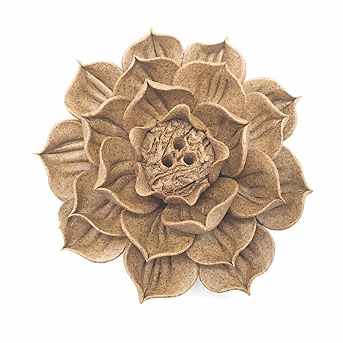 Anding Ceramic Handmade Artistic Incense Holder Burner Stick Coil Lotus Ash Catcher Buddhist Water Lily Plate (Porcelain Lily)