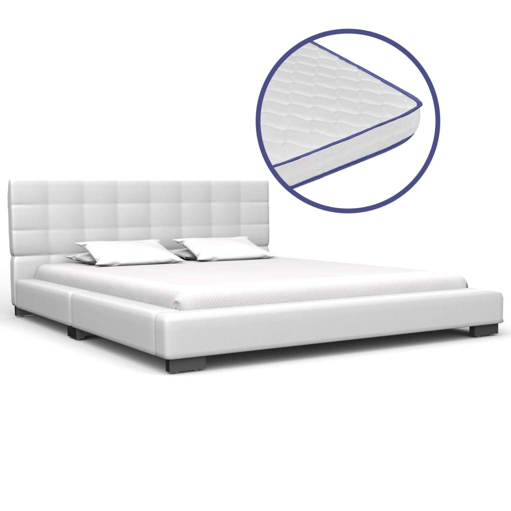 vidaXL Bett mit Memory-Schaum-Matratze Polsterbett Doppelbett Kunstlederbett Schlafzimmerbett Bettgestell Bettrahmen Lattenrost Weiß Kunstleder 140x200cm
