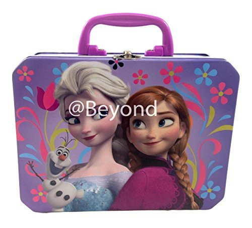 (Disney Frozen Princess Elsa Anna & Olaf Deluxe Large Purple Tin Lunch Box)
