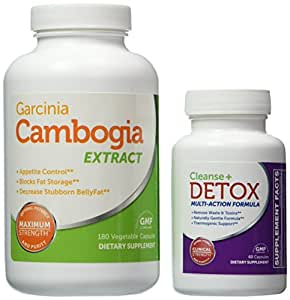 Best Garcinia Cambogia Weight Loss Kit w/ Colon Cleanse and Detox, Includes Garcinia Cambogia Extract 180 Capsules (Value Size) and Detox and Cleanse Supplement 60 Capsules, New Year New Body Best Weight Loss Combo of 2015, Helps Increase Energy, Lose Weight, Burn Fat, Detox and Cleanse