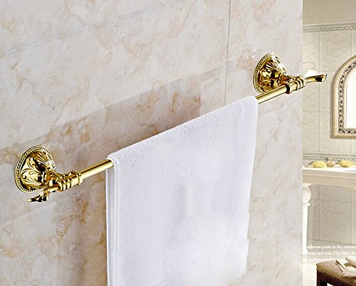 Rozin Gold Brass Art Carved Single Towel Bar Rack Wall Mounted 30%OFF