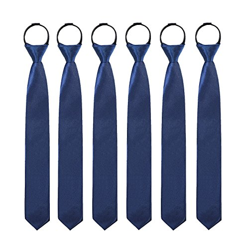 Toddlers Boys Zipper Ties Necktie - 6PCS Solid Color Adjustable Tie for Party (Navy Blue) by Kajeer