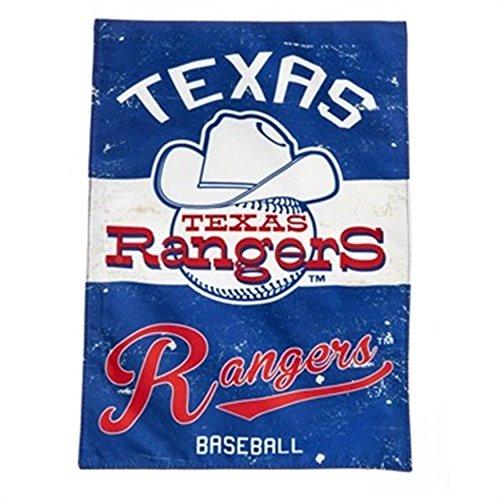 Texas Rangers EG VINTAGE Retro 2-sided GARDEN Flag Linen Banner Baseball