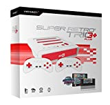 Retro Bit Super RetroTRIO HD 720P Plus 3 in 1 System with Data East Classic Collection SNES Cartridge Bundle for NES, SNES, and Sega Genesis Game Cartridges - Red/White