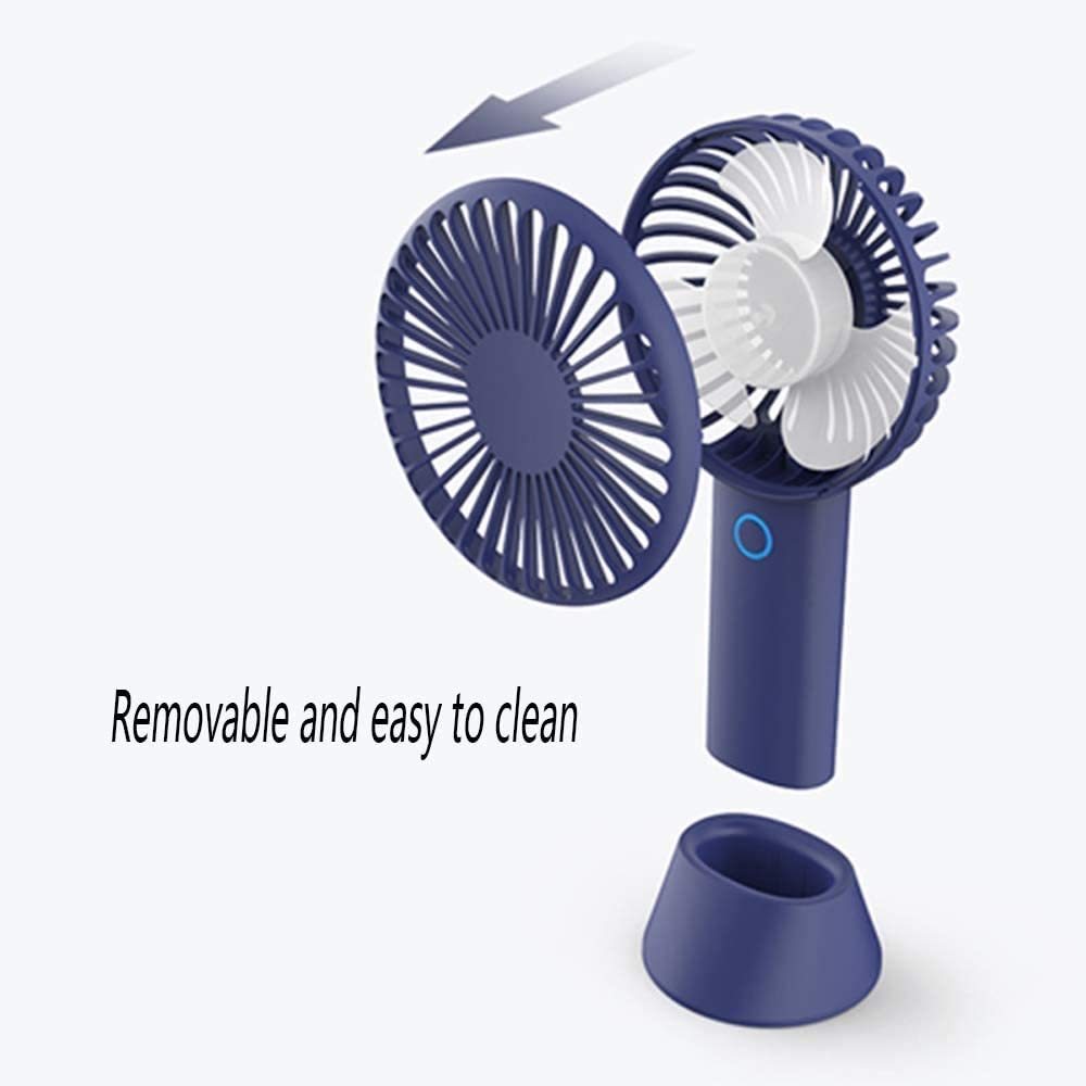 Mini Portable Cooling Fan USB Table Fan 4000mAh Charging Small Fan 3 Speed Mute Dual-use Handheld Desktop Fan Color : Blue
