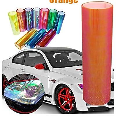 DIYAH 12 X 48 inches Self Adhesive Shiny Chameleon Headlights Tail Lights Fog Lights Films,Film Sheet Sticker,Tint Vinyl Film (Orange): Automotive