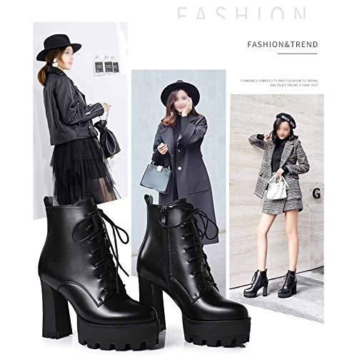 Miss single Da Stivaletti Pizzo Autunno Lavoro Inverno Tondo Impermeabile Stivali Donna black Pelle 40 In Tacco Alto Li E Per layer11cm rUrxCqwF