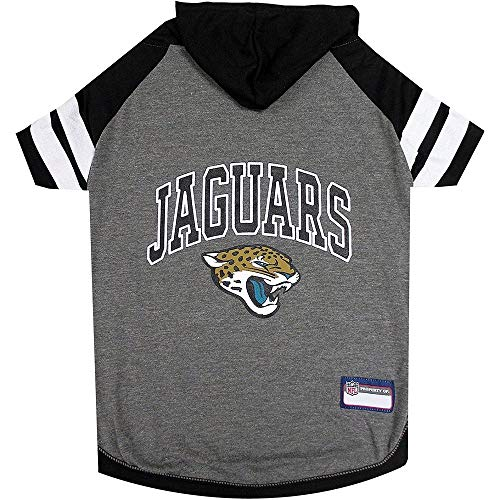 (Cooler Trend 1 Piece Sports Football Lover NFL Hoodie Pets T Shirts, Dogs & Cats - Cool Jacksonville Jaguars Print Team Logo Black Grey Medium Tee Shirts Hooded Pet Shirt with Your Favorite Team Name)