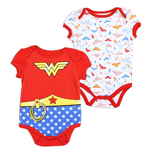 Wonder Woman DC Comics Baby Girls Creeper 2-Pack, Red (3/6M) ()