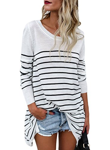 LOSRLY Women Casual Crew Neck Long Sleeve Striped Knit Loose Sweater Pullover Blouses and Tops-White XL 16 18 - Spandex Striped Sweater