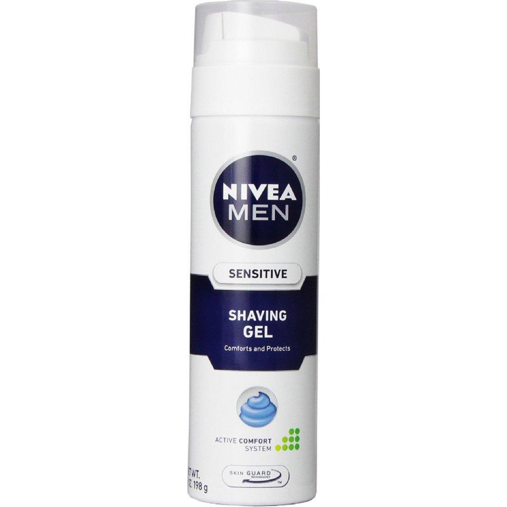 NIVEA FOR MEN Sensitive, Shaving Gel 7 oz (Pack of 12)