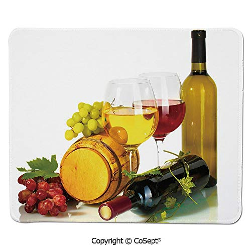 Ergonomic Mouse pad,Composition with Small Barrel Two Types of Grapes Drinks Beverage Product Decorative,for Computer,Laptop,Home,Office & Travel(15.74