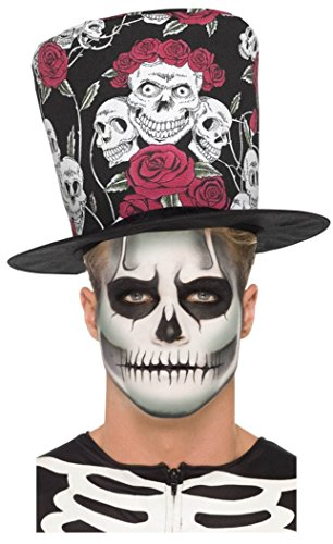 r Skull Rose Black Red Top Hat + Glow In Dark Skeleton Make Up Set ()