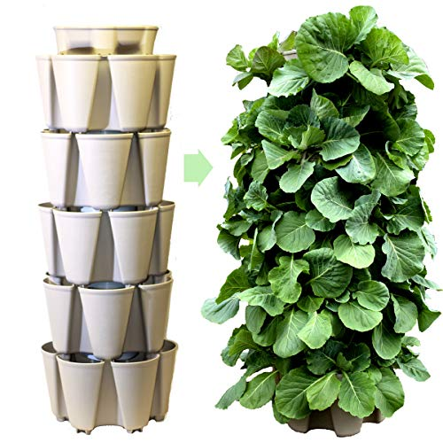 Huge GreenStalk 5 Tier Vertical Garden Planter w/Patented Internal Watering System Great for Growing a Variety of Strawberries, Vegetables, Herbs, Flowers on a Balcony or Deck (Stunning Stone) ()