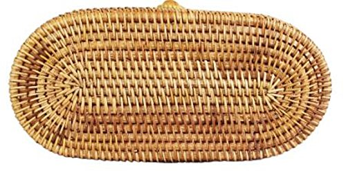 Shoulder Bag Pattern Weave Woven Lush Round Basket Cylinder Straw Designs Handwoven Handmade Rattan Wicker fp7ZqgwO