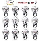 Konsait Flashing Led Light up Ring Toys Diamond Grow in the Dark Jelly Bumpy Rings for Birthday Bachelorette Bridal Shower Gatsby Party Favors (12pcs)