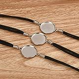 DROLE 40Pcs Black Leather Cabochon Bracelet