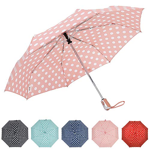 d3614d3913c4 ZKDT Cute Polka Dots Tri-fold Travel Umbrella Light Weight Compact &  Portable Umbrellas for Women (Pink)
