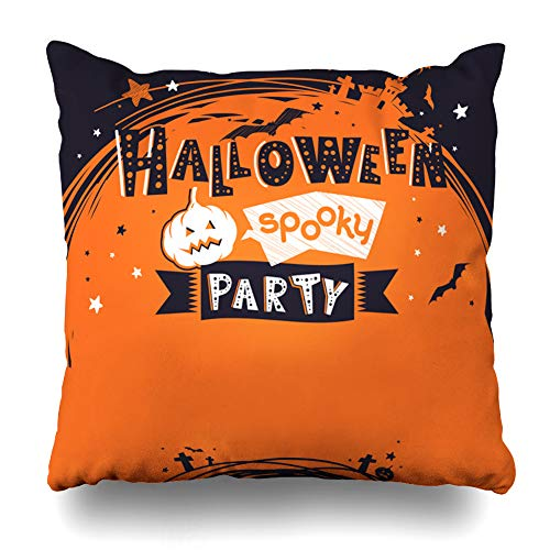 LALILO Throw Pillow Covers, Halloween Party Invit Banner Childish Castle Double-Sided Pattern for Sofa Cushion Cover Couch Decoration Home Gift Bed Pillowcase 18x18 inch