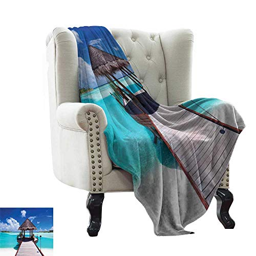Picnic Blanket Ocean,Jetty and The Ocean View on Tropical Caribbean Island Beach Resort Image,Turquoise Blue Redwood All Season Light Weight Living Room/Bedroom 60