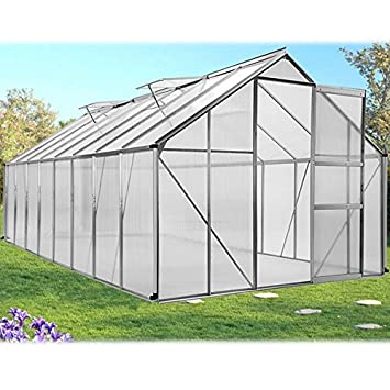 ProBache - Serre de jardin aluminium polycarbonate 12.25m² 4.90x2 ...