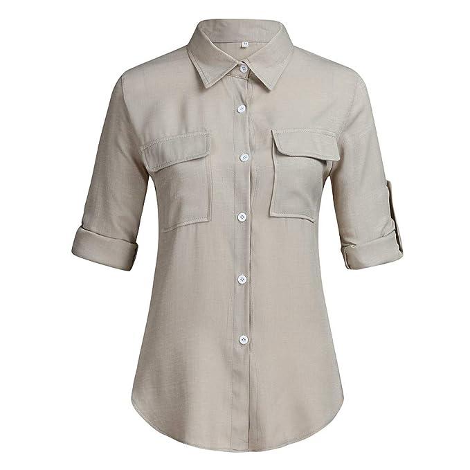 Amazon.com: Blusa de manga larga con cuello en V y botones ...