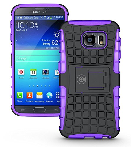 Galaxy s6 Case, Phone Case Galaxy S6 by Cable And Case | Galaxy s6 Armor Cases | Cute Galaxy s6 case SIV [SM-G920F] - Soft/Hard Shell 2 in 1 Tough Galaxy s6 Protective Case Cover Skin - Purple S6 Case