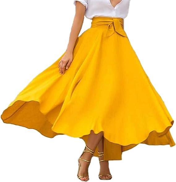 Fly Year-JP 女性エレガントなフローリースカートハイウエストソリッドプリーツスイングロングスカートポケット付き