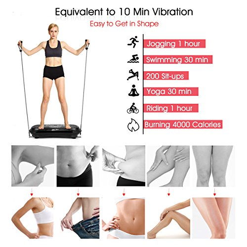 GENKI YD-1010B-B Ultra Slim Vibration Machine Plate Platform Whole Body Shaper Trainer Exercise Black by GENKI (Image #2)