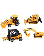 Top Race ToyZe 5 Inch Metal Diecast Construction Vehicle Set, Bulldozer, Forklift, Front Loader Tractor, and Excavator. 4 Pack (Ages 3+), Orange-Yellow
