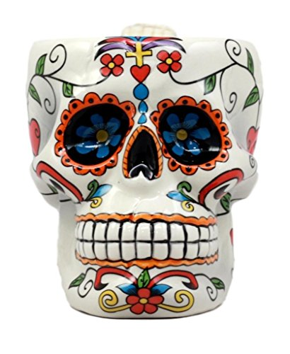 Ebros White Tribal Day of The Dead Crucifix Colorful Sugar Skull Drink Coffee Mug Cup Ceramic