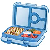 Leakproof Kids Lunch Box | 4-Compartment Bento Box for Kids | BPA-Free | School Lunch Container for Boys Girls | Children Travel On-the-Go Meal and Snack Packing Containers | Blue