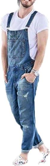gawaga メンズスタイリッシュ オーバーオール リッピング ストレッチ ビブ ジーンズ ロングパンツ