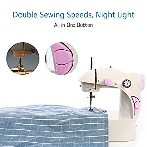 dilib Mini Sewing Machine - Professional Portable Electric Household Sewing Machine with Double Speed and Foot Pedal - Upgraded 201 Version Special For Sewing Sleeves by dilib
