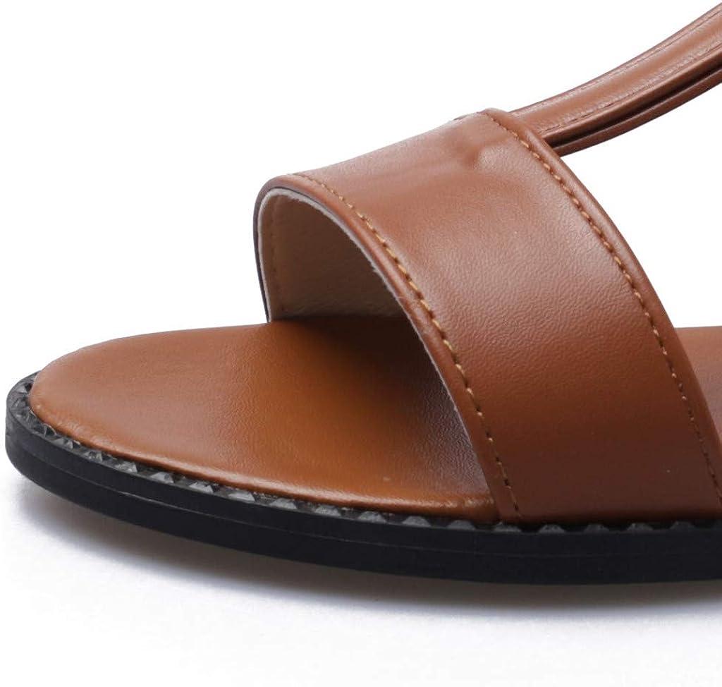 ZOMUSAR Womens Ladies Elastic Strap Flat Sandals Summer Shoes Roman Beach Shoes