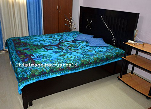 - Marusthali Mandala Indian Double Bedspread Hippie Gypsy Bedding for Bedroom Bohemian Psychedelic Picnic Blanket Beach Throw Indian Bed sheet