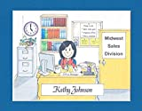 Secretary Gift Personalized Custom Cartoon Print 8x10, 9x12 Magnet or Keychain