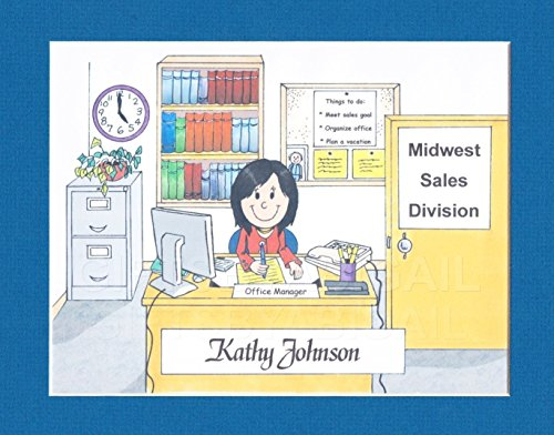 Secretary Gift Personalized Custom Cartoon Print 8x10, 9x12 Magnet or Keychain by giftsbyabigail