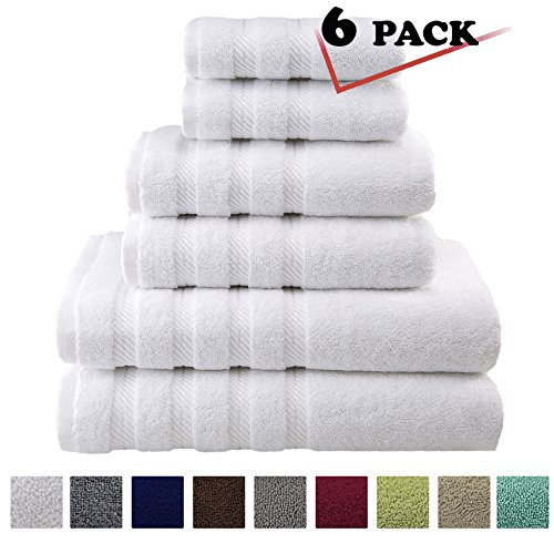 Bronze Carpet (Premium, Luxury Hotel & Spa, 6 Piece Towel Set, Turkish Towels 100% Cotton for Maximum Softness and Absorbency by American Soft Linen, [Worth $72.95] (WHITE))