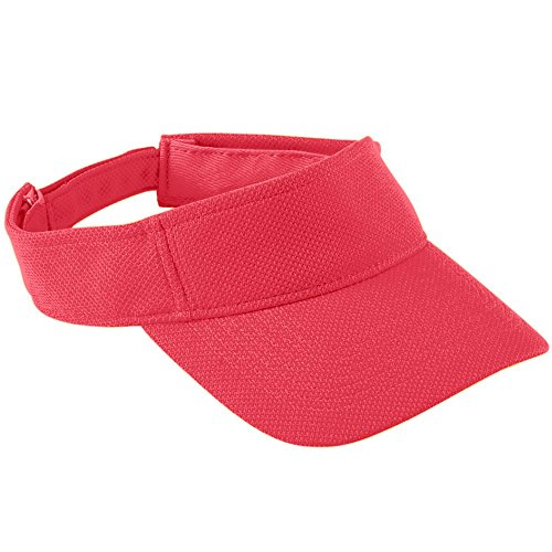 Baseball Golf Visor - Augusta Sportswear Kids' Adjustable Wicking Mesh Visor OS Red