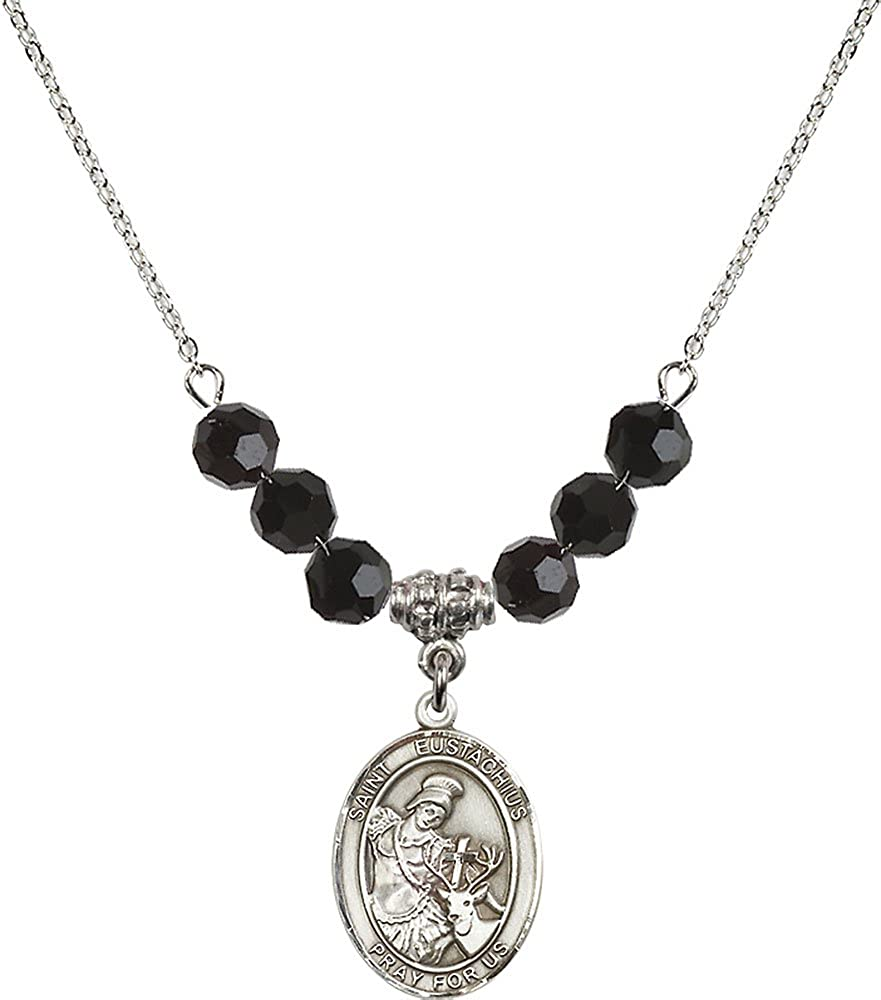 18-Inch Rhodium Plated Necklace with 6mm Jet Birthstone Beads and Sterling Silver Saint Eustachius Charm.