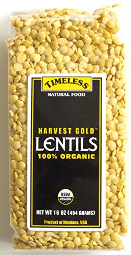 Certified 100% Organic Harvest Gold Lentils Montana 454 g 16 oz by Timeless Natural Food